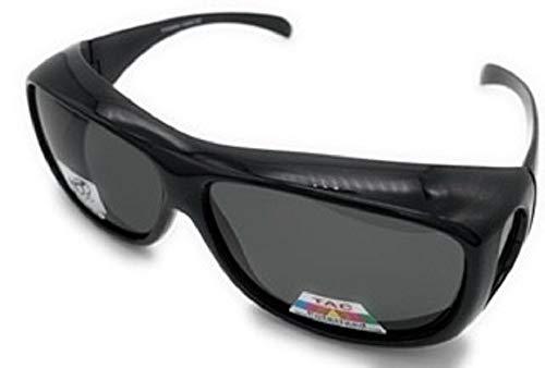 Polarized Fit Over Wear Over Reading Glasses Sunglasses, Size Large (Black 43299, Smoke)