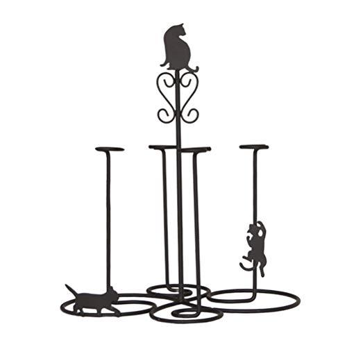 DOITOOL Soporte para tazas, diseño de gato, hecho en hierro, soporte para tazas de café, soporte para colgar, organizador de cocina, estante de secado para cocina y hogar