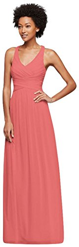 Mesh Long Bridesmaid Dress with Crisscross Back Style W10974, Coral Reef, 28