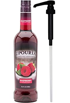 Upouria Raspberry Flavored Syrup 100% Vegan and Gluten-Free 750 ml bottle - Pump Included