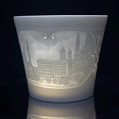 Porzellan Windlicht - München, Lithophanie, Teelicht, Tischlicht, feinstes Bisquitporzellan 9 cm