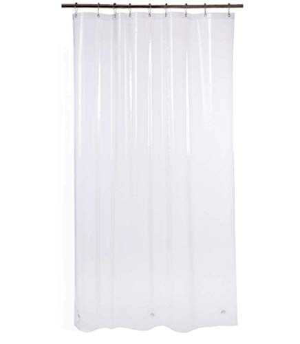 AmazerBath Plastic Shower Curtain, 54 x 72 Inches Clear EVA 8G Shower Curtain with Heavy Duty Clear Stones and Grommet Holes, Waterproof Thick Bathroom Plastic Shower Curtains