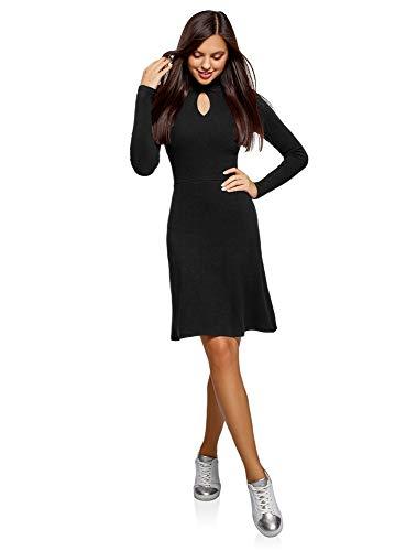 oodji Ultra Damen Kleid mit Umlegekragen und Ausgestelltem Rock, Schwarz, DE 36 / EU 38 / S