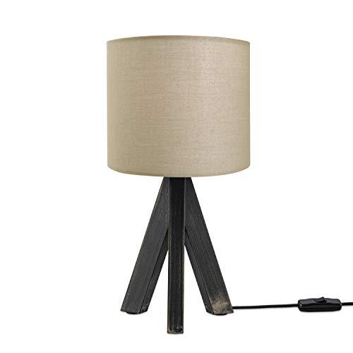 LED Luminaria Infantil Cuarto Infantil Luminaria Mesa Mesilla Colores Uni E14, Base de la lámpara:Lámpara de mesa negra, Pantalla de lámpara:Beige (Ø18 cm)