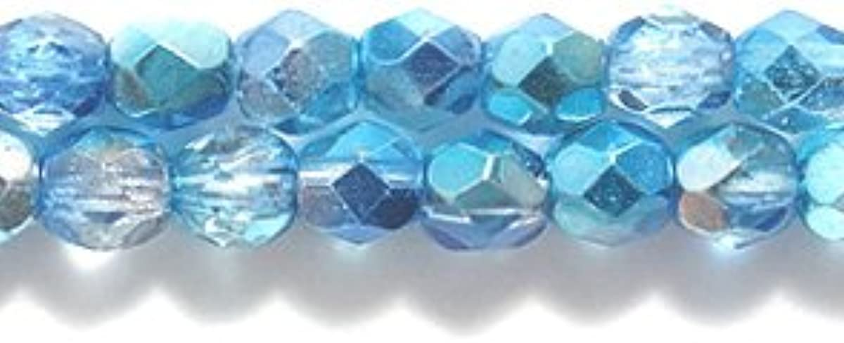 Preciosa Czech Fire 4 mm Faceted Round Polished Glass Bead, 2-Tone Sapphire/Aqua 1/2 Silver, 200-Pack