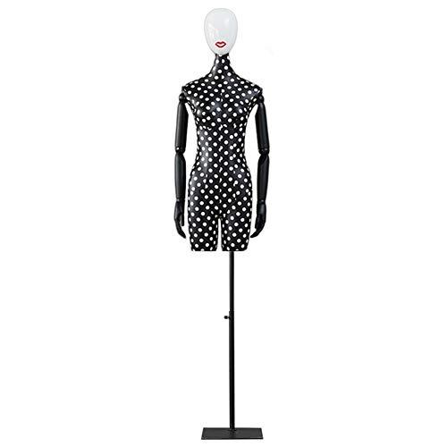 Maniqui Costura Maniquí Maniquí Ajustable Maniquíes Femeninos, Vestido de Lino con Diseño de Cabeza en Forma de Torso para Exhibición de Ropa, Soporte Modelo con Brazos de Madera (Color : Black)