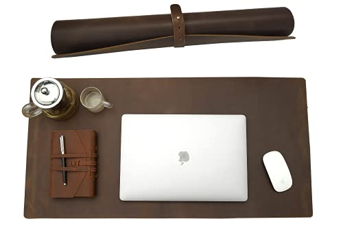 Niaiu Full Grain Leather Desk Pad Protector, 36'' x 17'' Large Genuine Leather Desktop Blotter Mats for Keyboard and Mouse, Big Desk Writing Pad for Office/Home/Work/Game -Brown