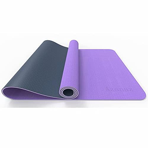 Azanaz Esterilla de yoga de tres capas, adecuada para gimnasia y pilates, de TPE, antideslizante, 183 x 61 x 0,6 cm, con bolsa de yoga