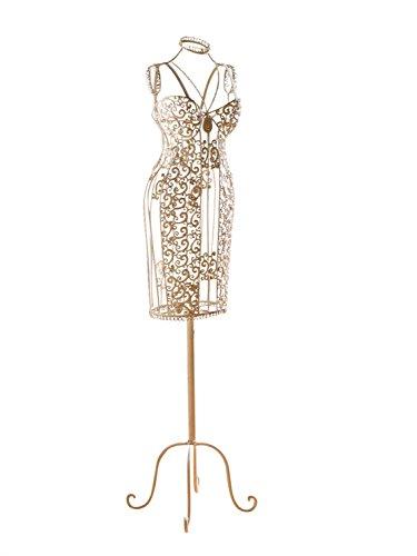 aubaho Nostalgie Schneiderpuppe Metall Garderobe Stummer Diener Puppe antik Stil Weiss