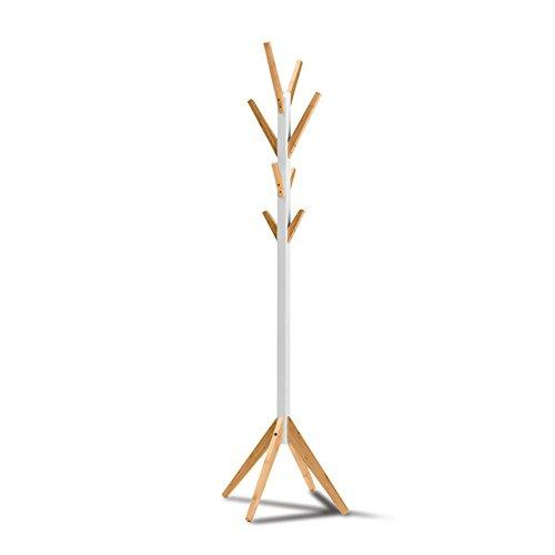 LIANGJUN Plancher Debout Porte-Manteau Chapeau Bois Massif Forme De Brindilles d'arbre Salon, Blanc, 55X178cm Portemanteau
