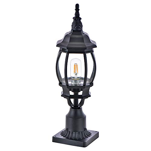 Lamp Post Outdoor Lighting Manble Post Lantern with E26 Base Clear Glass Exterior Pole Lamp for Patio Waterproof (Bulb not inclunded)
