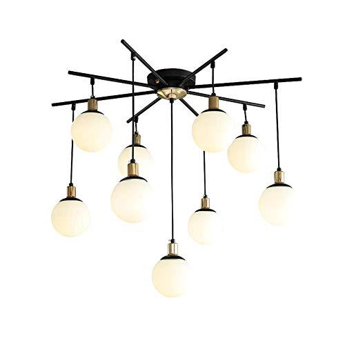 RUIXINBC Moderne kroonluchter plafondlamp, E27 moderne magische bont-glazen lampenkap van metaal kroonluchter, creatief woonkamer keuken eetkamer hanglamp