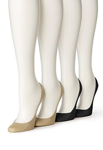 Hue Women's 4 Pair Microfiber No Show Liner Sock, Asst,Medium/Large (Size 2)