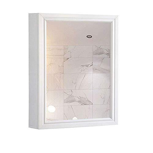 WLABCD Spiegel Badezimmer Spiegelschrank, Toilettenschrank, Raum Aluminium Einzeltür Spiegel Box 2 Raum, Home Fashions Schrank Schrank Mit Modernem Design,Weiß,60X50X12 Cm.