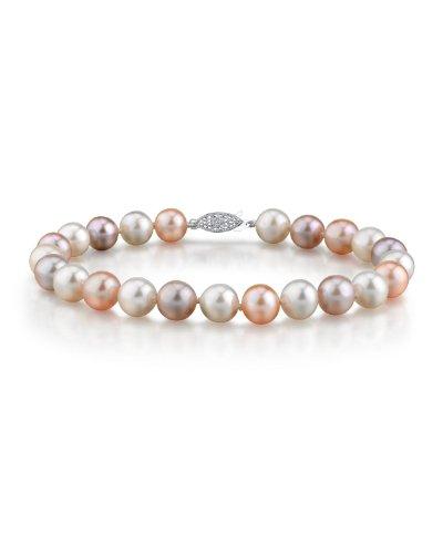14K oro 9–10mm Multicolor–Bracciale perle coltivate AAAA Qualità