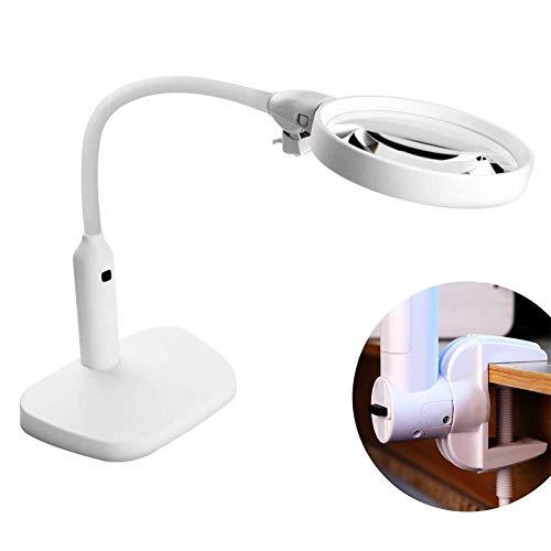 J+N Minihand Lupe 6LED Lupe Klemmlampe, 2X, 5X Lupe Objektiv, Metallschlauch Verstellbarer Schwenkarm Dienstprogramm Klemmleuchte for Schreibtisch, Tisch, Craft Mikroskop