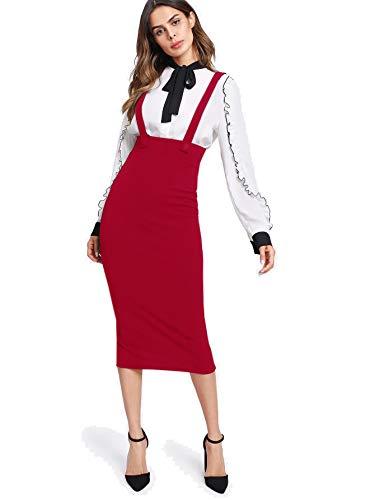 Milumia Women Strap Slit Back High Waist Pencil Bodycon Midi Suspender Pinafore Skirts Red Small