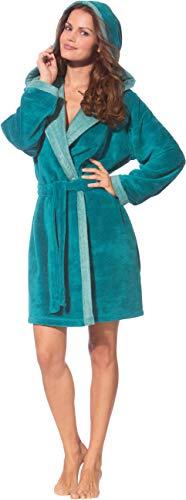 Morgenstern Bademantel Frauen in Farbe Petrol mit Kapuze Kapuzenbademantel Saunamantel Größe S. Länge 90 cm.
