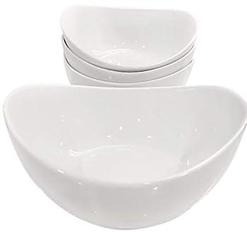 Partito Bella 42 Ounce Pro-Grade Porcelain Serving Bowls Large Bowl Set of 4 White Bowls for Soup Salad Pasta Cereal Stackable for Easy Storage Dishwasher Safe