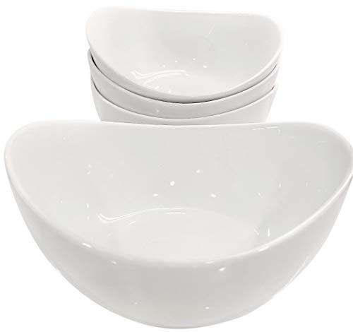 Partito Bella 42 Ounce Pro-Grade Porcelain Serving Bowls, Large Bowl Set of 4, White Bowls for Soup, Salad, Pasta, Cereal, Stackable for Easy Storage Dishwasher Safe