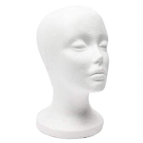 Ogquaton Modèle de qualité féminine tête modèle de mousse mannequin modèle de tête pour perruque cheveux chapeau bijoux présentoir