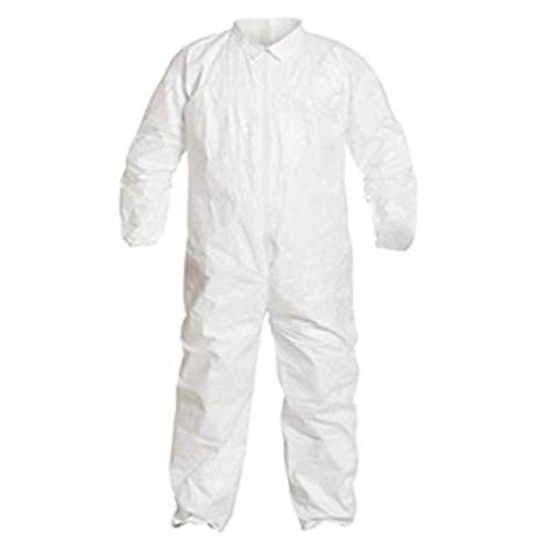 Magid Glove & Safety Disposable Protective Tyvek Coverall Suits - Made in USA - 25 Pack | Adult Coveralls with Front Zipper and Open Cuffs, White, Large (25 Coveralls)