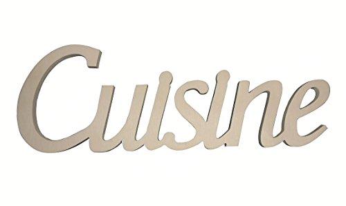Scritta in legno Cuisine cm L 32x 12 h spessore 8 mm (legno da decorare)