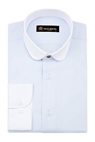Jack Martin - Club/Penny Collar - Blue Herringbone Slim Fit Shirt. Mens 1920s Blinders Gang Shirts