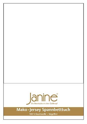 Janine 5007 - Lenzuolo con angoli elasticizzati in jersey makò, 180/200 fino a 200/200 cm, colore: Bianco