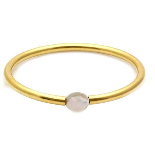 JewelryGift Pearl White Gemstone Bangle 18k Gold Plated Unique Jewelry Bracelets for Girls and Ladies 2.25