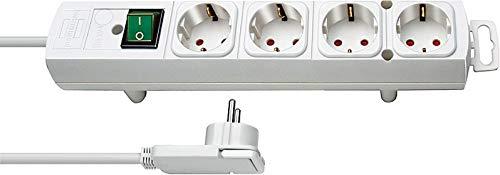 Brennenstuhl Comfort-Line Plus, Steckdosenleiste 4-fach (Steckerleiste mit Flachstecker und Schalter, Mehrfachsteckdose mit 2m Kabel und extra breiten Abständen der Steckdosen) weiß