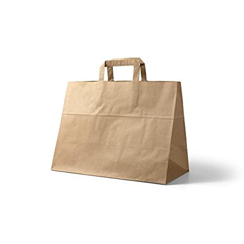 Papiertragetaschen in braun groß 32 x 17 x 27 cm I Papiertüten Geschenktüten I braune Papier Tüten (50)