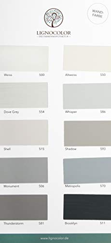 Lignocolor Wandfarbe Farbtonkarte EINZELN Echtaufstriche nach Farben sortiert (Weiss-/Grautöne)