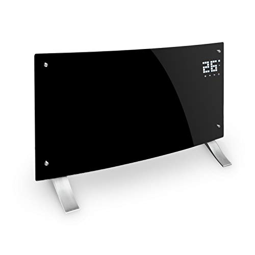 Klarstein Bornholm Curved Smart - Konvektionsheizgerät, LED-Display, Touch-Display, Timer, App-Steuerung, 2 Heizstufen 1000 & 2000 Watt, Thermostat 5-45°C, Temperaturanzeige, Eco-Modus, schwarz