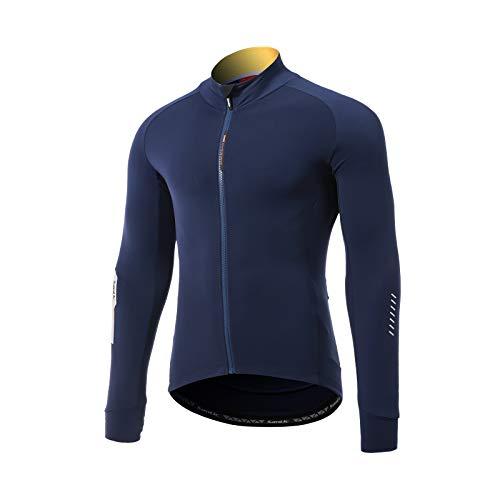 Santic Magliette Ciclismo Uomo Lungo Maglia Ciclismo Uomo Invernale Bicicletta Camicie Marina Militare EU L