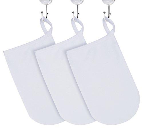 KinHwa Make-Up Entferner Handschuh Super Sanft Mikrofaser Abschminkhandschuh Wiederverwendbar Gesichtsreinigung und Abschminken nur mit Wasser 13cm x 20cm 3 Stück Weiß