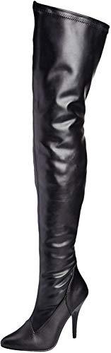 Pleaser Damen Seduce-3000 Langschaft Stiefel, Schwarz (Blk str pat), 46 EU(16 US)