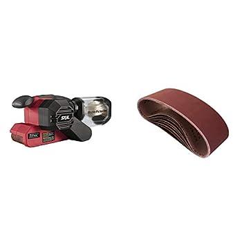 SKIL 7510-01 Sandcat 6 Amp 3  x 18  Belt Sander with Pressure Control & POWERTEC 110810 3 x 18 Inch Sanding Belts   80 Grit Aluminum Oxide Sanding Belt   Premium Sandpaper for Belt Sander – 10 Pack