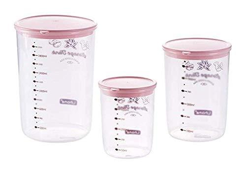 QFLY Tarros Cocina 3-Piezas Conjunto de Cereales Contenedores Snack-Tanque de Almacenamiento de plástico Transparente Caja de Almacenamiento de un Buen Sellado Food Kitchen Botes Cristal Cocina