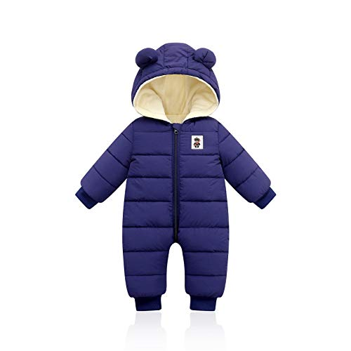 Bigzzia Baby Winter Romper, Boys Girls Toddlers Infants Simple Cotton Sleepsuit Outwear Warm Snowsuit Hoodie Autumn Jumpsuit (Blue, 12-18 Months)