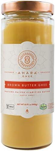 Ahara Rasa Brown Butter Truly Grassfed Ghee 33oz Lactose Casein Free USDA No Salt No GMOs Made product image
