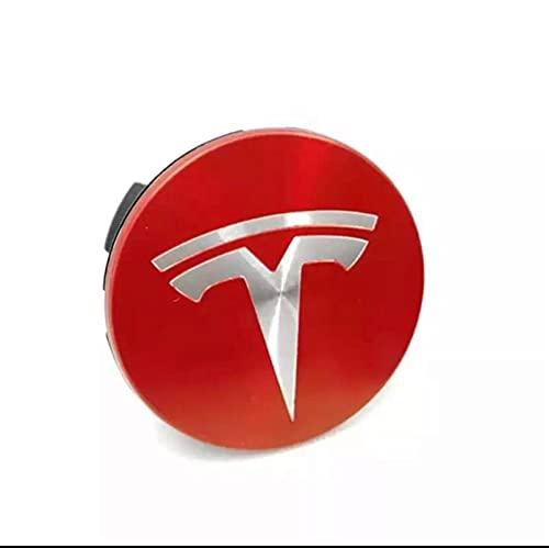 YTRGED 4pcs 56mm Rueda de automóvil Central Central Tapas Logotipo Insignia Emblema Abdominales Reemplace la Cubierta del Borde para Tesla Modelo 3 S X Y Revisión de Accesorios para automóviles