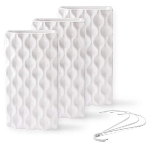 Ligano® Heizkörper Luftbefeuchter mit Wellenmotiv – Keramik Wasserverdunster für die Heizung – 3 Stück