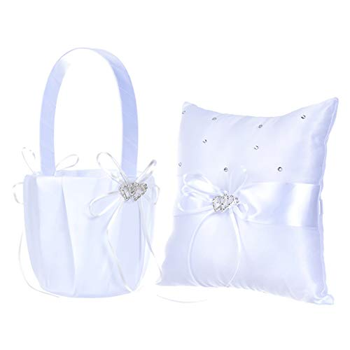 MODAO Flower Girl Basket and Ring Bearer Pillow with 2 Heart Rhinestones, Ivory Wedding Ceremony for Wedding Supplies Gift