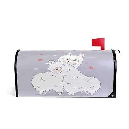 20.7x18.03 Pouces Taille Standard Mignon Blanc Llama Magnétique Mailbox Couverture MailWraps Jardin Yard Home Decor pour À L'extérieur