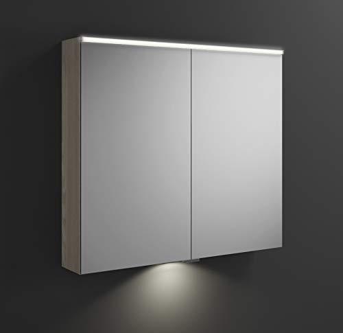 Burgbad Eqio Spiegelschrank mit Horizontaler LED-Beleuchtung und LED-Waschtischbeleuchtung SPGT090, Breite: 900mm, Korpus: Eiche Dekor Flanelle - SPGT090F2632