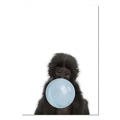 SHBKGYDL Bilder Auf Leinwand,Tierisches Schwarz Monkey Blau Bubble Poster Kinderzimmer Baby Home Wand Kunstdruck Malerei Nordic Kids Dekoration Bild Wohnzimmer Schlafzimmer Einrichtung