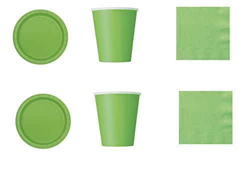 Coordinado monocolor de papel verde para fiestas y eventos. Productos reciclables y ecológicos en pulpa de celulosa - Kit n° 1 Cdc - (20 platos de 20 cm, 14 vasos, 50 servilletas)