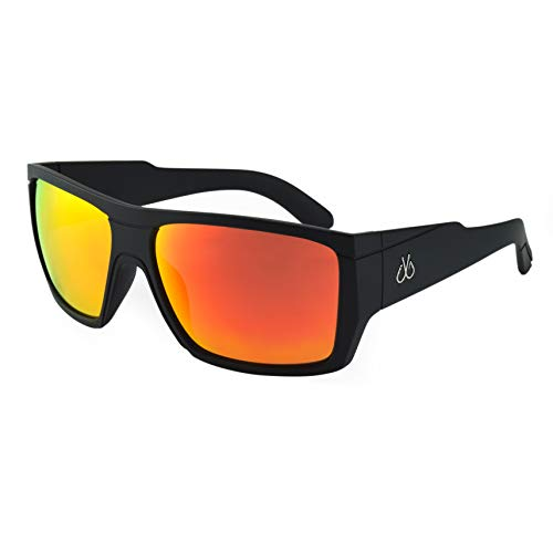 Filthy Anglers Webster Men's Polarized Sunglasses, Matte Black, Polarized w/Red Mirror Lenses