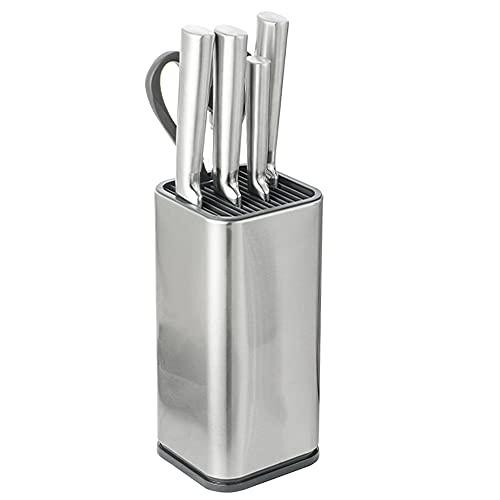 Mopoin Ceppo Coltelli, Porta Coltelli Cucina Ceppo Coltelli Vuoto in Acciaio Inossidabile con Scarico per Cucina Ristorante, Materiali di qualità Alimentare